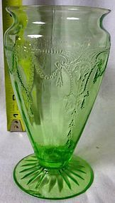 Cameo Green Vase Hocking Glass Company