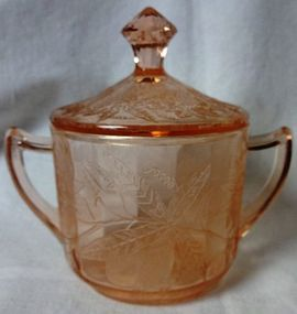 Floral Pink Sugar and Lid Jeannette Glass Company