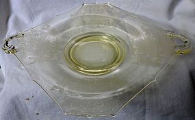 Gothic Garden Yellow Handled Tray Paden City