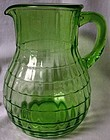 Block Optic Green Bulbous Pitcher Hocking Glass