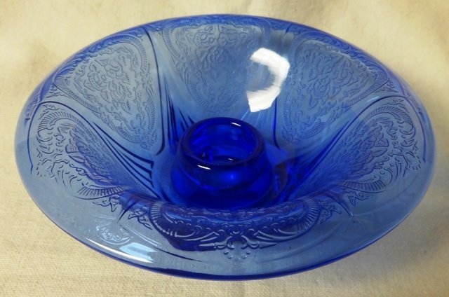 Royal Lace Cobalt Rolled Edge Candlestick Hazel Atlas