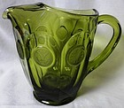 Coin Olive Green Pitcher Fostoria Glass Company