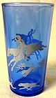 "Fox Hunt Scene Ritz Blue Tumbler 3 7/8"" Hazel Atlas"