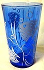 "Angel Fish Ritz Blue Tumbler 4 5/8"" Hazel Atlas"