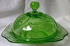 Madrid Green Butter Dish & Lid Federal Glass Company