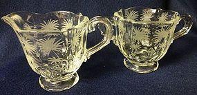 Lido Crystal Individual Creamer & Sugar Fostoria Glass