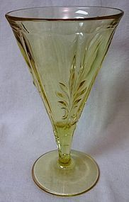 "Baroque Gold Tint Goblet 6.75"" 9 oz Fostoria Glass Company"
