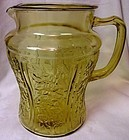 Sharon Amber Pitcher 80 oz no Ice Lip Federal Glass Company