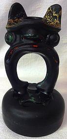 "Tiffin Glass Company Black Satin Frog Candlestick 5.75"""