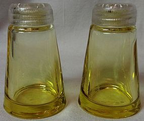 "Fostoria Glass Company Pair Canary 3"" Shakers"
