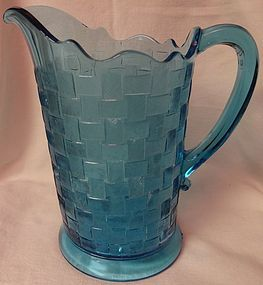 "Basketweave Blue Pitcher 8.75"" Co Operative Flint Glass Company"