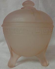 Greek Key Pink Frosted Powder Jar