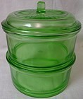 Stacking Set Green with Knob Cover Hazel Atlas Glass Company