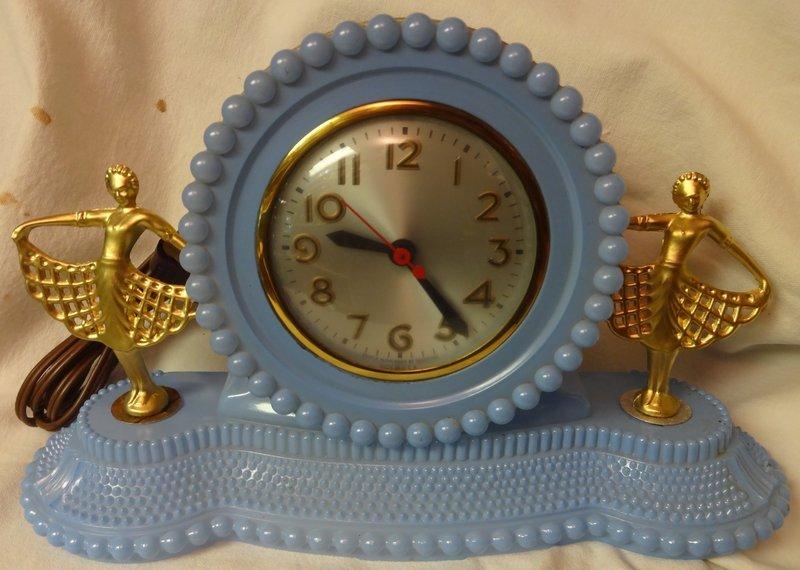 Twin Ballerina Blue Clock