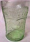 "Patrician Green Water Tumbler Flat 4.25"" 9 oz Federal Glass Company"