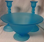 Sky Blue Satin Flared Compote & Pair Twist Candlesticks Tiffin Glass