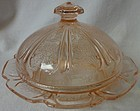 Cherry Blossom Pink Butter & Lid Jeannette Glass Company