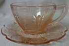 Cherry Blossom Pink Cup & Saucer Jeannette Glass Company