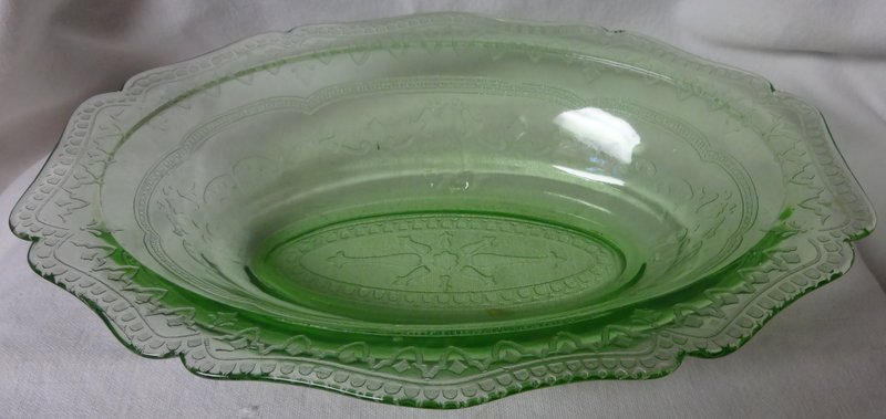 "Patrician Green Oval Bowl 10"" Federal Glass Company"