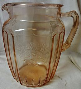 "Mayfair Pink Pitcher 8.5"" 80 oz Hocking Glass Company"