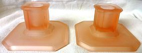 "Pink Satin Pair Square Candlesticks 4"" Tiffin Glass Company"