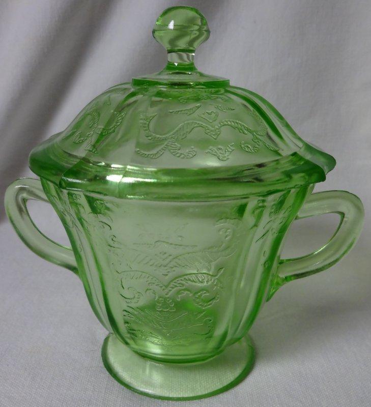 Madrid Green Sugar and Lid Federal Glass Company