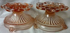 Old Colony Pink Candlestick Pair Hocking Glass Company
