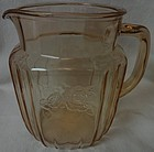 "Mayfair Pink Juice Pitcher 6"" 37 oz Hocking Glass Company"