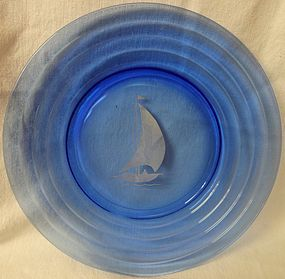 "Moderntone Cobalt White Ship Luncheon Plate 7.75"" Hazel Atlas Glass"