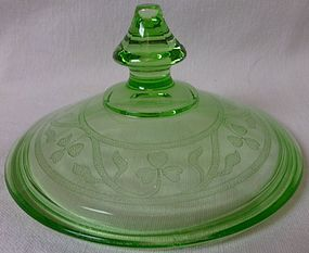 Cloverleaf Green Candy Lid Hazel Atlas Glass Company