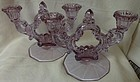 Keyhole Pair Two Light Candleholders Heatherbloom Cambridge Glass