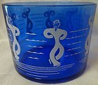 "Dancing Sailors Ice Bucket 4.25"" Tall Hazel Atlas Glass Company"