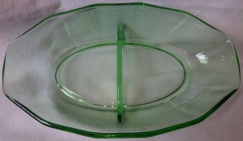 "Fairfax Green Relish 8.5"" 2 Part Fostoria Glass Company"