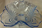 "Caprice Moonlight Blue Bowl 10"" 4 Footed Square Cambridge Glass"