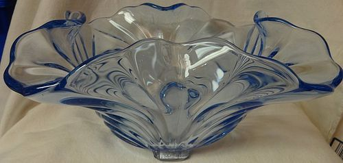 "Cambridge Moonlight Blue Bowl 12"" 4 Footed Square Cambridge Glass"
