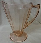 "Floral Pink Pitcher 8"" 22 oz Cone Jeannette Glass Company"