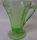 "Cameo Green Creamer 4.25"" Hocking Glass Company"