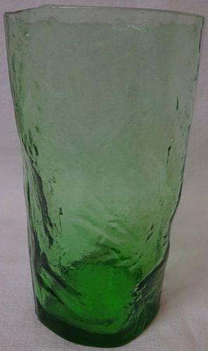 "Crinkle Green Water Tumbler 5"" 10 oz Morgantown Glass Company"
