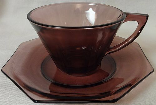 Moroccan Amethyst Cup and Saucer Hazel Atlas Glass Company