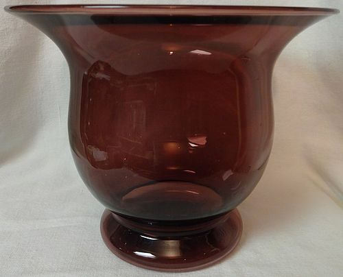 "Vase Amethyst Glass 6.5"" Tall 7.5 Across"