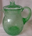 Faux Crackle Covered Pitcher Green 9""