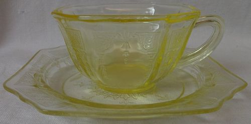 Princess Yellow Cup and Saucer Hocking Glass Company