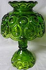 "Moon and Star Green Candle Lamp 9.5"" 3 piece  L E Smith"