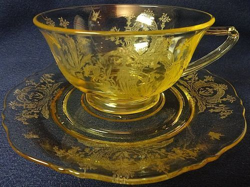 LaFleure Mandarin Yellow Cup and Saucer Tiffin Glass Company