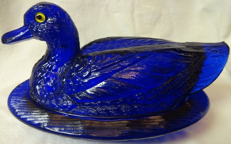 "Duck on a Nest Cobalt 8"" Yellow Eyes Westmoreland Glass Company"