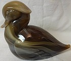 "Sittin"" Duck Carmel Slag 4.5"" Tall Imperial Glass Company"