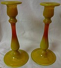 "Candlestick Pair Sunset #448 7.5"" Co Operative Flint Company"