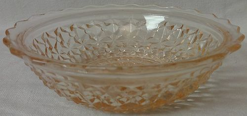 "Holiday Pink Berry Bowl 5 1/8"" Jeannette Glass Company"