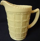 "Beaded Block White Pint Jug 6 1/8"" Imperial Glass Company"