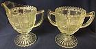 Beaded Block Crystal Creamer & Sugar Imperial Glass Company